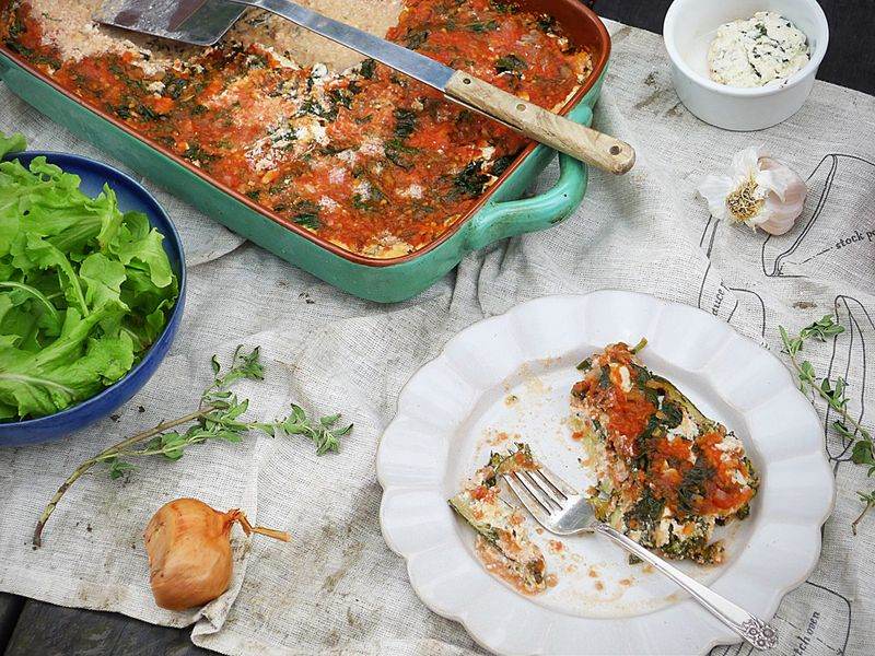 Vegetable Lasagna and Salad