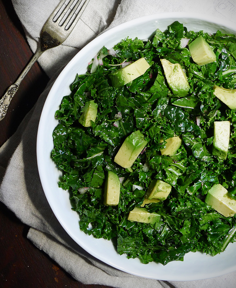 Kale Avocado Onion Salad