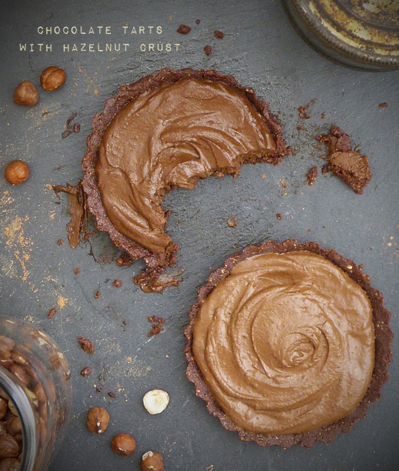 Chocolate Tarts with Hazelnut Crust
